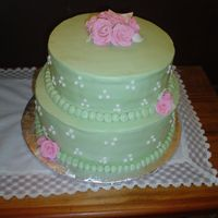 Green Bridal Shower Buttercream with fondant roses for a couple whose wedding colors were pink and green.