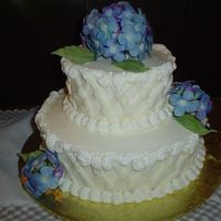 Hydrangea Wedding Shower Buttercream with gumpaste flowers.