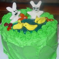 Easter Cake  This Easter cake was made with buttercream icing for the icing and the grass. The bunnies and chicks were made with fondant and food...