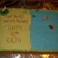Over The Hill Cake This was done for a man who loved to fish. I used four 13x9 size cakes(it was for like 175 people) I used BC icing. The top of the cake is...