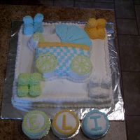Baby Shower Cake This was my first big baby shower cake. I used the square cake pan in the wedding cake set and the baby buggy cake pan. I iced the square...