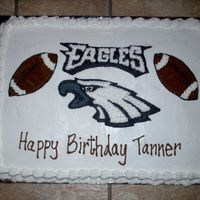 Philadelphia Eagles Cake This is (2) 1/4th sheets cakes combined and iced in BC.