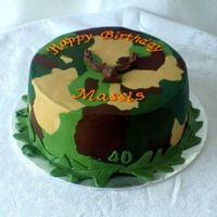 Camoflauge Hunting Cake Buttercream with fondant leaves