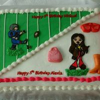5Th Birthday Cake This is a cake for 5 year old boy/girl twins. The boy wanted football and the girl wanted Bratz but they were sharing a cake. This is what...