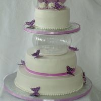 Lavender Engagement All buttercream with real ribbon and handmade chocolate butterflies.