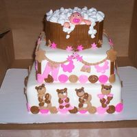 Brown Ad Pink Baby Shower Cake