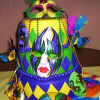 Mardi Gras Cake MARDI GRAS CAKE. DONE FOR A GRADUATION PARTY! ALL EDIBLE, EXCEPT 4 THE MASK ON TOP OF CAKE (THAT WAS BROUGHT TO ME, )AND THE FEATHERS. oh...