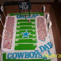 Dallas Cowboys 40Th Birthday  WASN'T THRILL ABOUT MY BLEACHER'S, BUT WILL DO BETTER NEXT TIME!!! WHITE AND CHOCOLATE CAKE, BUTTER CREAM FROSTING,FONDANT...