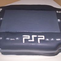 Psp cake made for my nephew. 1/2 chocolate and 1/2 white.