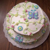 Butterflies And Vines Two Tier Cake with Butterflies and Vines