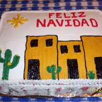 Feliz Navidad sheet cake I made to take to a Christmas Dinner where we were serving Mexican food instead of traditional holiday fare.