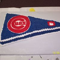 Cubs cubs pennant made for groom's cake, all buttercream over chocolate cake