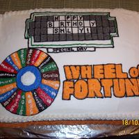 Wheel Of Fortune my niece loves this show, completely buttercream decorations and icing over chocolate fudge cake