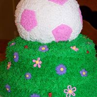 Girly Soccer Cake This is for a 9 year old girl who's nickname is bug. The lady bugs were just for her!