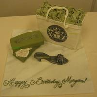 Versace Birthday Cake Versace shoe box, versace logo bag, and shoe. Everything is cake, except the shoe. Favorite colors of client were green and silver, hence...