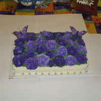 Purple Rose/butterfly Bd Cake All B/C roses and trim.