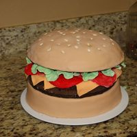 Block Party Cake Hamburger cake, covered in fondant with fondant decoartions