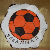 Soccer Cupcakes Cupcake cake, frosted with whip cream frosting, and a FBCT.