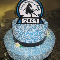 Horse Show Hand painted dried gumpaste logo. Fondant ribbons.