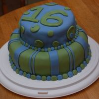 16Th Birthday Cake Chocolate cake covered in Pettinice fondant made for my cousin's 16th birthday.