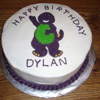 "Barney Birthday Cake Buttercream frosting on 10"" Round"