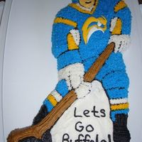 Buffalo Sabres Player Cake Made with Wilton Character Pan - Logo is Color Flow