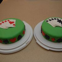 Euchre Cakes   Birthday cakes done for 2 parties in the same weekend. A perfect Euchre Hand - Fondant