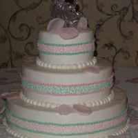 Cornelli Lace Ribbon Buttercream frosted with cornelli lace ribbon.