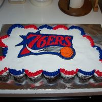 Basketball Cake Cupcake cake for a youth basketball team.