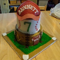 Baseball Tiered   Two tiered baseball cake w/ baseball hat on top. Hat is made from 1/2 ball pan with fondant bill. Accents are made from fondant also.