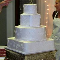 Mixed Shape White Cake - White Buttercream White Wedding Cake - White Buttercream (Fall Wedding - Moberly, MO)