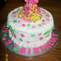 Pink Monkey 3 Yr Girls Birthday Cake Banana cake with buttercream frosting...pink monkey and dots/trees from fondant.