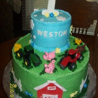 "First Birthday ""farm"" Cake This grandchild has both sets of grandparents as farmers so to keep ""peace"" in the family we had to have the John Deere Tractor..."