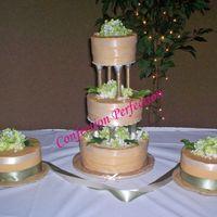 Ribbon Parade Iced in dark Ivory ButtercreamThere are 3 ivory ribbons on each of the center tiers. On the side cakes there are ivory ribbons on top and...