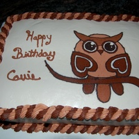 Owl Birthday Vanilla cake w vbc. FBCT for someone who loves owls. TFL