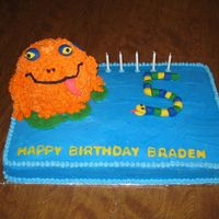Frog And Snake Cake My son had his birthday at the nature center with lots of snakes, lizards, ferrits, frogs, etc. He wanted an orange frog with blue spots...