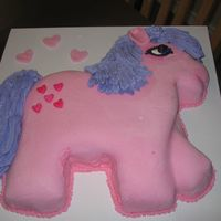 My Little Pony Cake I cut the cake shape out of a 12 x 18 cake and covered with icing and marshmallow fondant flavored with rasberry. The mane and tail were...