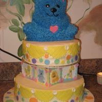 Baby Bear The Grandma to be picked this out of the wilton book. We just changed it up to match the colors and animals of the theme of the baby shower...