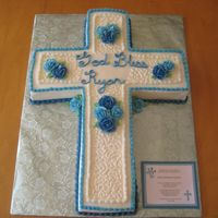 First Communion This was done last weekend. Colors to match the invite. It was more green-blue in person. 12x18 cut into cross shape. I used every bit of...