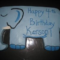 Elephant Cake   Carved out of three 9x13 cake pans. Buttercream icing...made this cake to match the invitation.