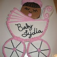 Baby Carriage  This cake was made from one 12 inch round pan and three 6 inch round pans. I carved the carriage body from the 12 inch cake and then used...