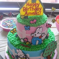 Max & Ruby For my daughter's 4th birthday. Colorflow decorations and fondant fence.