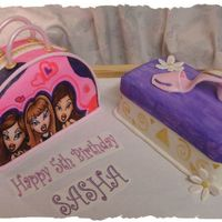 Bratz Purse With Shoebox This is my daughter's 5th birthday cake. Both iced in bc and covered in fondant with fondant details. Bratz is an edible image. Thanks...