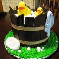 Baby Shower Duckie Wash Tub Cake Thatnks to all who gave me advise!!This is a yellow cake with all fondant pieces.