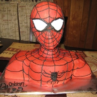 Spiderman 3D Cake I made this cake for my sons 5th Birthday. Part of the cake is choc. and the other half is yellow. Iced in buttercream and decorated with...
