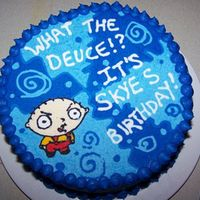 Skyes_Stewie_Cake.jpg This cake was cursed from the beginning- I was sick with the flu when I made it for my daughter who loves Family Guy- one of the layers...