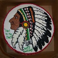 "Hail To The Chief 14"" round with buttercream indian design."