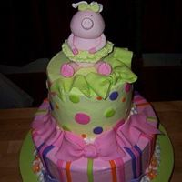 "Piggy Ballerina 11"" and 6"" rounds covered in BC with Fondant accents. The piggy and bows are a gumpaste/fondant mix."