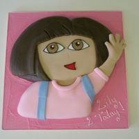 "Dora The Explorer Carved from a 12"" square sponge cake, sugarpaste covering. My little boy used to absolutely love Dora when he was little and was..."
