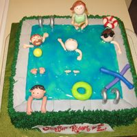 Pool Party This was a small cake done for a pool party. I can't remember who's cake I used as inpiration but thanks! It was fun to make. I&#...